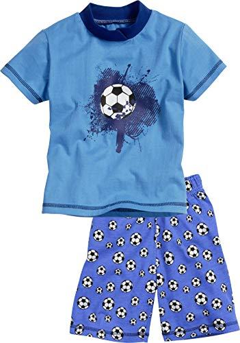 Playshoes Jungen Shorty Single-Jersey Fußball Zweiteiliger Schlafanzug, Blau (Original 900), 128 -