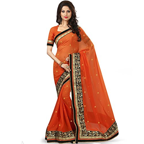 Designer Partywear Sarees fashionable with velvet touch border Saree in Brown Caramel color by vasu saree