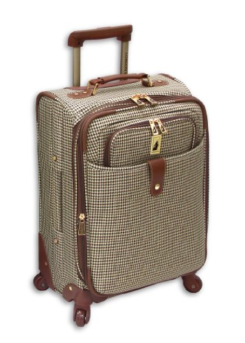 london-fog-luggage-chelsea-21-inch-360-expandable-upright-suiter-olive-plaid-one-size