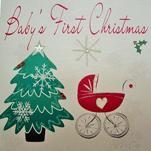 White Cotton Cards Baby 's First Christmas Weihnachtskarten