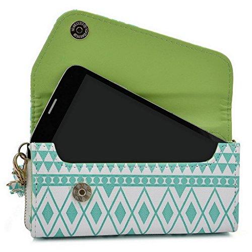 Kroo Pochette/étui style tribal urbain pour HTC One M9/Desire 612 Multicolore - Noir/blanc Multicolore - White with Mint Blue
