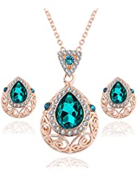 Womage Elegant Vintage Green Gem Austrian Crystal Drop Jewelry/Necklace Set For Women - Jewl-28