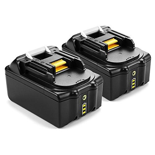 2 Stück Energup 18V 5000mAh Lithium-Ionen Ersatz Akku für Makita 18V BL1860 BL1850 BL1840 BL1830 BL1820 BL1815 BL1820B BL1815B LXT400 Werkzeugakkus mit LED Indikator
