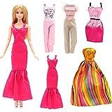 Miunana 5 Vestiti Abiti per Bambola Ragazza: Vestito Sirena Nero + Vestito Colore d'oro + T-Shirt A Strisce con Pantaloni Grigi + Vestito Spalle Scoperte + Canotta Multicolore con Pantaloni Rosa