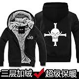 Felpa Anime One Piece Vestiti Autunno E Inverno Abbigliamento più Maglione con Cappuccio in Velluto con Cerniera Spessa Uomini
