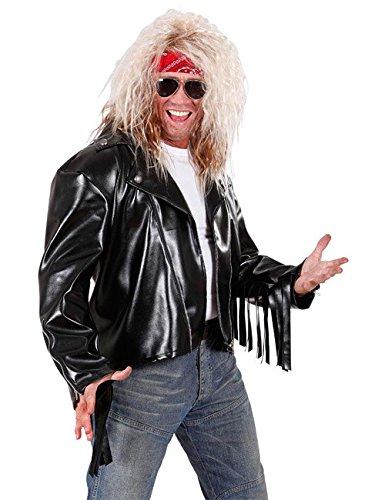 Preisvergleich Produktbild Rocker Lederjacke Biker mit Fransen schwarz M/L