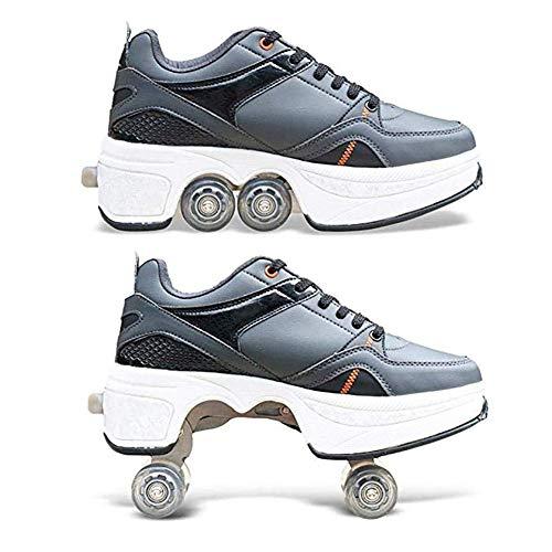FLIPS Quad Skates 2-In-1 Mehrzweck Verstellbare Rollschuhe, Stiefel Verstecktes Rad Für Laufsportschuhe Zum Spielen Einstellbare Rollschuhe Für Skaten Laufen Unisexe Geschenk Für Freunde,Schwarz,42