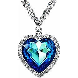 """NEOGLORY Collar """"Corazón de Mar"""" Love Heart con Cristales SWAROVSKI AZUL Joya Original Regalo Mujer"""