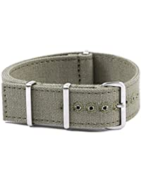Large Canvas NATO Watch Strap 20mm 28cm Long - Squared End