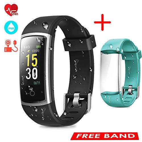 CHEREEKI Fitness Armband, Fitness Tracker mit Pulsmesser IP68 Wasserdichter Farbbildschirm Aktivitätstracker Fitness Uhr mit Blutdrucküberwachung Schrittzaehler Anruf SNS SMS
