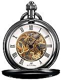 KS Vintage Taschenuhr Herren Handaufzug mechanische Skelett Uhr mit Kette KSP006