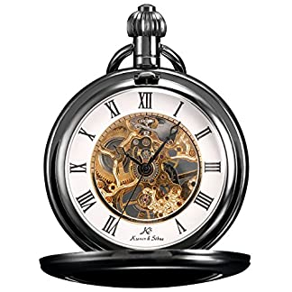 KS-Unisex-Full-Hunter-Skelett-Analog-Zifferblatt-Mechanische-Taschenuhr-KSP006