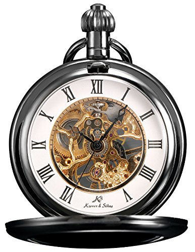KS Unisex Full Hunter Skelett Taschenuhr