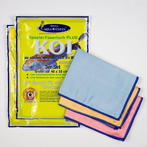 Aqua Clean Koi Tücher (6 Stück, 45x33cm) - Mikrofaser Fenstertuch, Zum Reinigen Trocknen Polieren