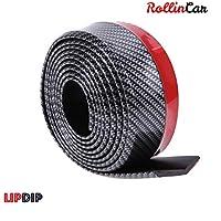ROLLIN spoiler delantero universal - lip coche aleron universal para coche tipo bumper - protectores de faldon delantero y trasero, perfil de goma en fibra de carbono 2,5m