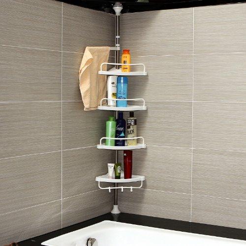 Songmics 120–300cm 4niveles telescópica ajustable ducha esquina baño estante Rack–Acero inoxidable con revestimiento de tubo BCB002