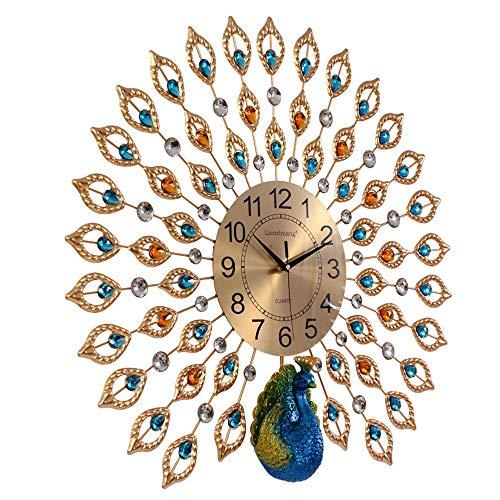 Ibalody moderno creativo rame digitale pavone orologio da parete muto luce di lusso al coperto silenzioso orologio da parete al quarzo soggiorno navata ristorante cafe villa carte da parati decorativi