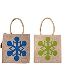 "Ecotara Marvel ""Super Saver"" Lunch Bag Combo- Natural Blue & Green- Small 9.5*9 Inch"