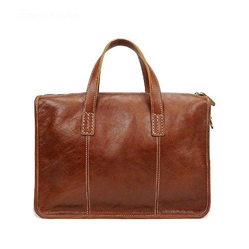 """JXXDDQ Herren-Aktentasche aus Leder Kleine Schultertasche Messenger Bag Retro Crossbody 13 """"Laptop-Handtasche (Farbe : Braun)"""