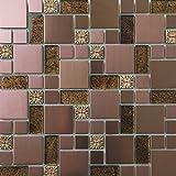 30cm x 30cm Matte Glas, geprägt Stein und gebürstet Edelstahl Mosaik Wand Fliesen Blatt Gold und Kupfer (MT0165)