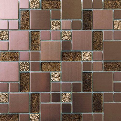 Stein-mosaik-fliesen-blatt (1 QM Matte Glas, geprägt Stein und gebürstet Edelstahl Mosaik Wand Fliesen Blatt Gold und Kupfer (MT0165 Quadratmeter))