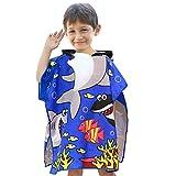 VSTON Asciugamano Poncho da Bambino per Spiaggia, Bagno con Asciugamano con Cappuccio, Bambino in Microfibra, Cartone Animato Accappatoio Asciugamano ad Asciugatura Rapida(Blu Marino)