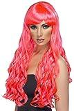 Desire Hot Pink Long Curls Fancy Dress Halloween Costume Wig (peluca)