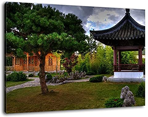 Chinese Pagoda Size: 120x80 cm image strung on canvas, huge XXL images completely finished and framed with stretcher, Art print on wall picture with frame, cheaper than painting or picture, no posters or poster