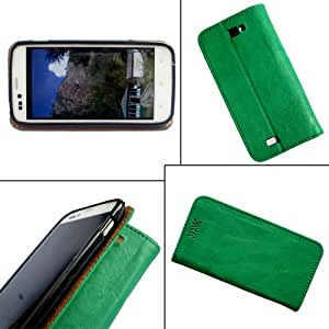 i-KitPit - PU Leather Flip Case Cover For Samsung Galaxy Young (GREEN)