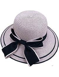 YueLian Estivo Cappello da Sole di Paglia con Fiocco Nero Decorativo c876843b8068