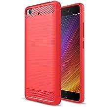 MOONCASE Xiaomi 5s Funda, Fibra de Carbono Rugged Armor Case Resistente Antideslizante Gota Protección TPU Protectora para Xiaomi Mi 5S Rojo