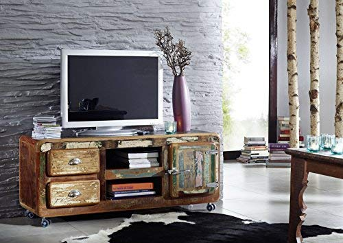 Massivmoebel24.de Meuble Massif Verni Bois Fer Vieux Chêne Style Industriel Meuble TV Bois Massif Bois Meuble Freezy #09