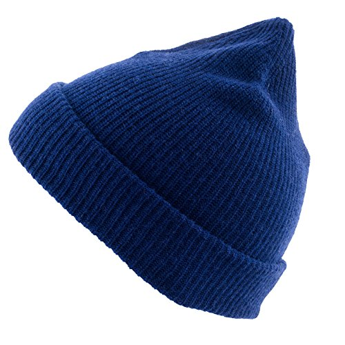 REALLY NICE CASHMERE Eco Kaschmir Mütze - Plain Rip Beanie Unisex - Winter Strickmütze 100 % Wolle blau (Unisex-eco-fleece)