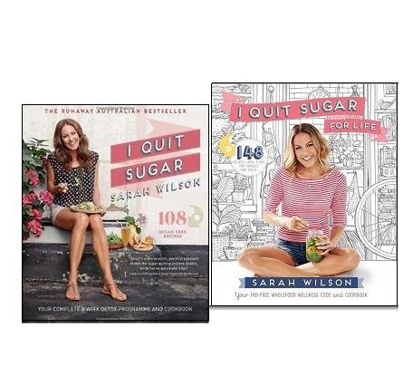 Sarah Wilson I Quit Sugar Cookbook Collection 2 Books Set, (I Quit Sugar for Life: Your fad-free wholefood wellness code and cookbook and I Quit Sugar: Your Complete 8-Week Detox Program and Cookbook b)