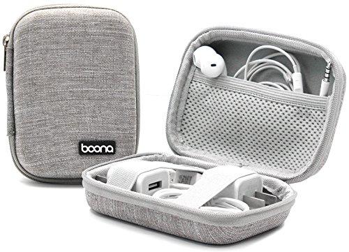 Baona Tragetasche für Kopfhörer, stoßfest und wasserdicht, für iPod Shuffle, Ladekabel, Kopfhörer, Speicherkarten, USB-Flash-Laufwerk, Objektivfilter, Schlüssel und Münzen grau