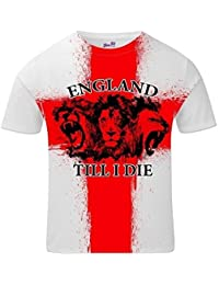 Bang Tidy Clothing England Till I Die 3 Lions Terraces Football All Over Print Mens T Shirt WHITE XXL