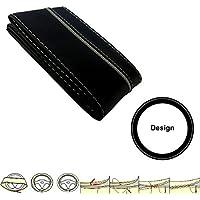 SC304BG - Pelle Coprivolanti Car Steering Wheel Cover protettore della rotella guanto NERO / GRIGIO con ago e filo - Impugnatura Di Sterzo Copertura