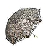 Aisi Damen Double Layer DREI Falten windsicher Wasserabweisender kompakter Faltbarer Winddicht Anti-uv mit UV-Schutz niedlicher eleganter Lovely Taschenschirm Regenschirm