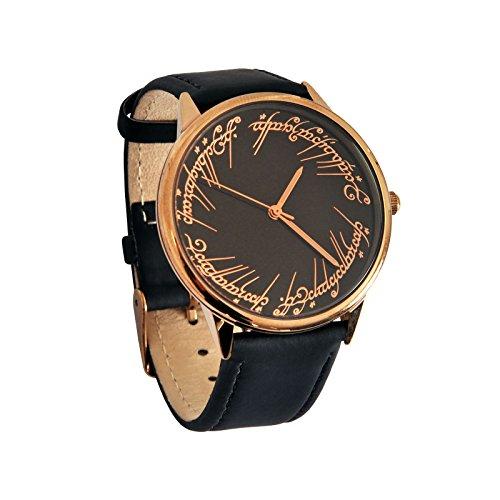 Herr der Ringe Armband Uhr Elbenwald Lederarmband schwarz (Ring Herr Der Arwen)