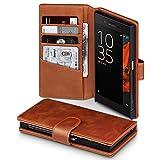 Sony Xperia XZ / XZs Case, Terrapin [ECHT LEDER] Brieftasche Case Hülle mit Kartenfächer und Bargeld für Sony Xperia XZ / XZs Hülle Cognac