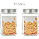 HOMIES INTERNATIONAL, Set Of 2 Pieces, Square Shape, Best Quality Glass Jar Set Container (1000 Ml Each) With See Through Lid, For Tea, Sugar, Coffee, Cookie, Cereals Etc. Unique Design Glass Airtight Jar, For Home, Kitchen And Commercial Use, Size: Large