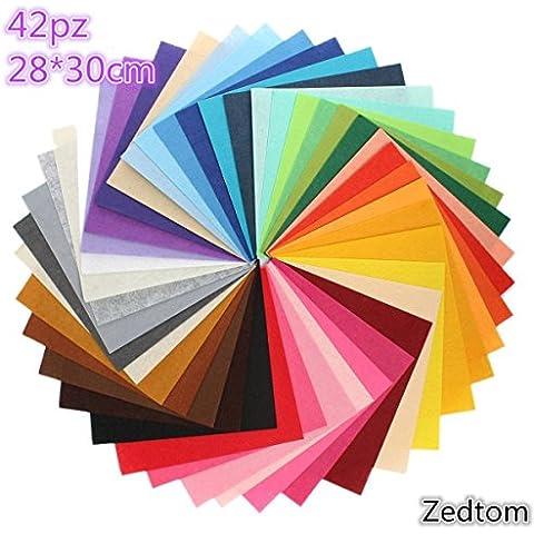 Zedtom 42 Colori Feltro in Fogli DIY