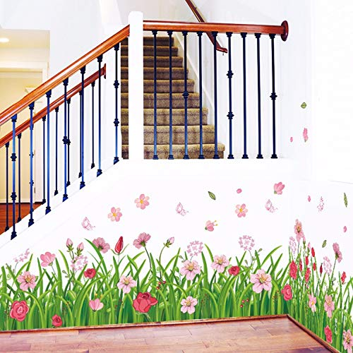 Qwerlp fai da te colorful floral flower home decor natura parete grass wall stickers 3d stickers da parete floreale tv divano sfondo decorazione