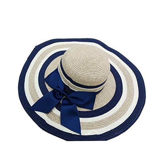 Surker 2016 Femmes Mode Bownot Straw Sun Hat Cap Beach Sun Visor bleu marin