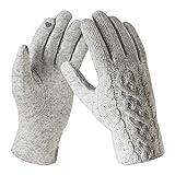 Bequemer Laden Damen Wintersport Handschuhe Dick Fleece Strick Handschuhe Touchscreen Warme Winterhandschuhe für Outdoor Garten mit Warme Fleece Futter & Wolle Haken, Hellgrau, Einheitsgröße