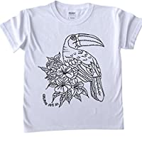 T-Shirts For Children / Teenagers / Adults To Colour In. Various sizes. Toucan Design (Fabric pens sold separately)