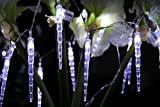ERGEOB Eiszapfen Weihnachtsbaum hängen Lichterkette von 10 weißen LED Licht