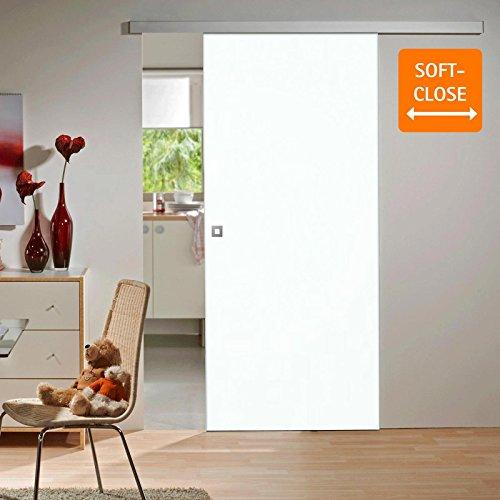 Holz-Schiebetür weiß Komplettset mit Schiebetür-Beschlag Softclose 880 x 2035 mm Holztür & Schiene Schiebetürsystem Quadratgriff