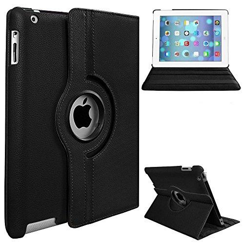 Preisvergleich Produktbild Schutzhülle mit Standfunktion für iPad Pro 12.9, aus Kunstleder, um 360° drehbar, Schwarz