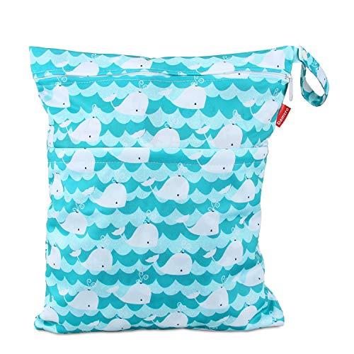 Damero windeltasche wetbag für Unterwegs, wiederverwendbar Nasstaschen für Babys Windeln, schmutzige Kleidung und anderes Zubehör, (Groß, Netter Wal)